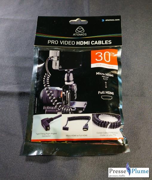 Emballage du câble Atomos HDMI
